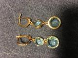Золотые Серьги 585 пробы,с голубыми топазами